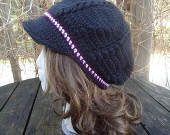 Crocheted Bobble Newsboy Beret-Tam-Snood Brimmed Hat...Black, Burgundy and White