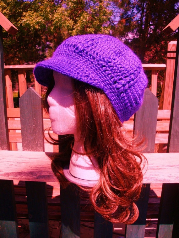 Crochet Bobble Newsboy-Beret-Tam-Snood Brimmed Hat....Deep Iris Purple