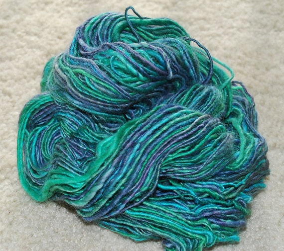 SALE Misty Peacock: BFL Handspun Yarn
