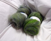 Forest Greens Merino and Kid Mohair batts