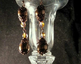 Cocoa Pearls Dripping In Copper Earrings
