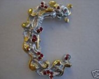Erte Initial C in Sterling Silver and Gold Vermiel with a OOAK Necklace