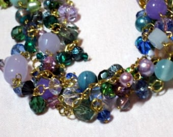 Trendy Four Intertwined Chains and Multicolored Gemstones Beaded Necklace