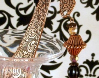 Copper Bookmark with Vintage Copper Bead