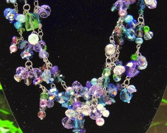Trendy MultiStrand Silver Blue Green and Purple Necklace
