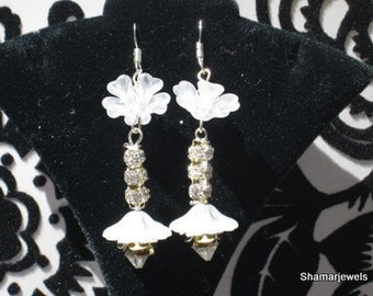 Bridal Prom Sweet Sixteen Quinceanera Earrings with Lalique Like Flowers and Rhinestone Crystals