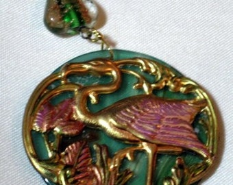 Colored Flamingo Filigree on Lacey Green Agate Pendant and Necklace