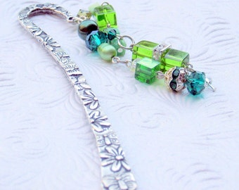Etched Silver Bookmark with Beads & Crystals Perfect Graduation Hostess Teacher Gift