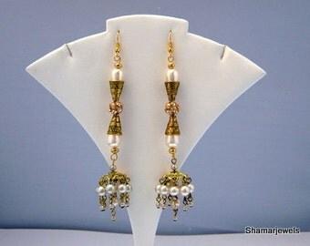 Gypsy Boho Style Chandelier Trendy  Dramatic Dangling Pearl Earrings
