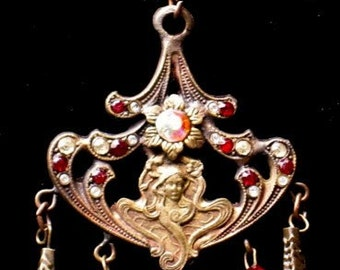 Czech Art Nouveau Style Vintage Goddess Pendant with Rubies and Rhinestone Crystals Necklace
