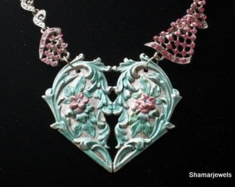 Valentine's Day Art Nouveau Goth Heart with Vintage Clear and Fuschia Rhinestone Necklace