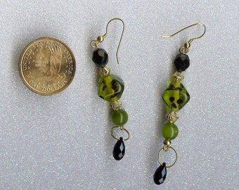 Animal Print Green Earrings   SALE