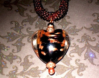 Black & Gold Murano Heart Pendant on Beaded Bronze Necklace