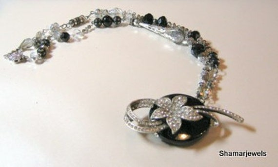 Black Onyx and Vintage Rhinestone Floral Necklace