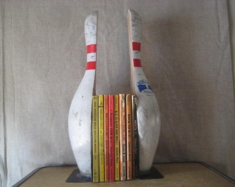 Wooden Bowling Pin Bookends Original Hand Made Rustic Cottage Chic Hobby Room Decor