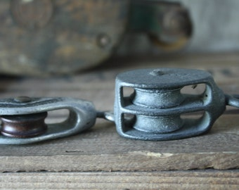 Vintage Metal Pulley - Pair Industrial Decor Home Improvement Pulley Lighting Pulley Hardware Single Pulley & Double Pulley Home Decor