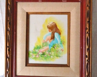 """Framed Painting 'Flower Girl"""" -  Signed - Wall Art, Original Art, Cottage Chic, Holiday Gift Idea"""