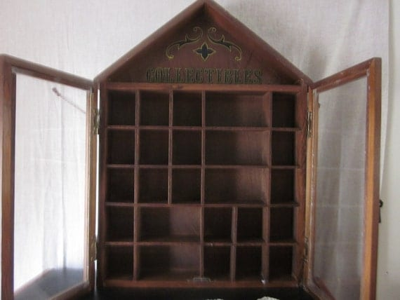 Wood and Glass Curio Cabinet, Shadow Box,Collectible, 2 glass doors