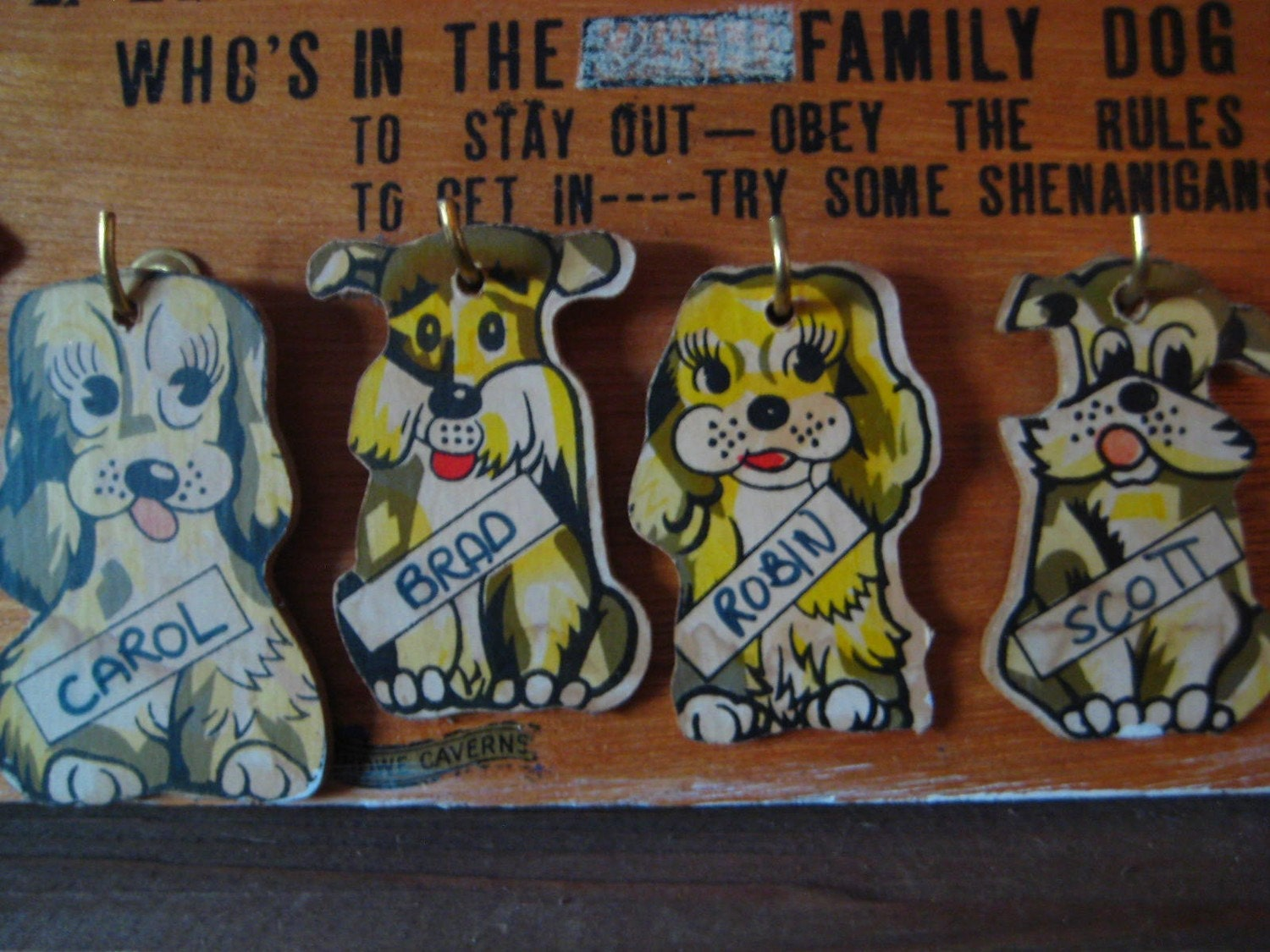 Vintage Family Dog House Wall Plaque 1950 Wall Art