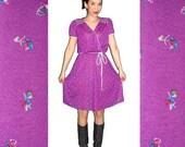 vtg 1980's tiny FLORAL purple MINI dress M