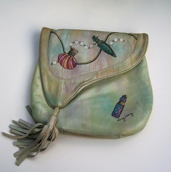 vintage rare designer fancy nancy painted leather handbag. Black Bedroom Furniture Sets. Home Design Ideas