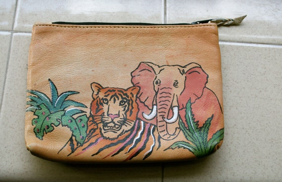 Hand Painted Leather Pouch from India - three zippered pockets