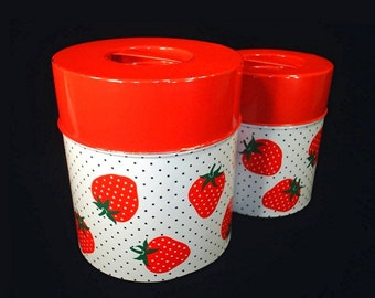 vintage 70's RED polka dot strawberry shabby metal canisters