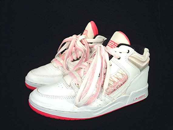 80's L.A. Gear vintage leather hi top shoes PINK and white 7