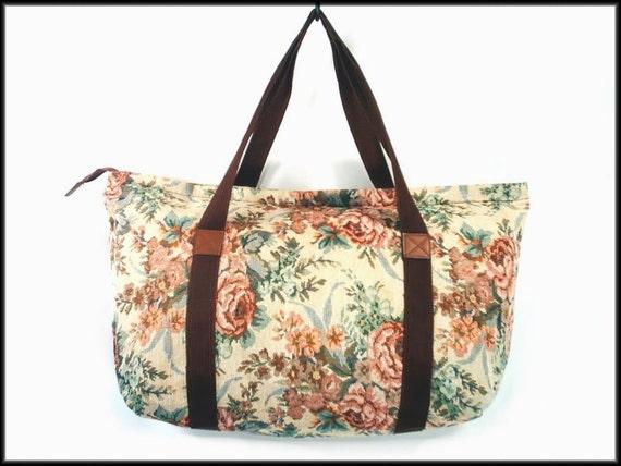80's vintage FLORAL tapestry duffle bag weekender luggage