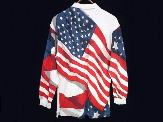 mens 80's AMERICAN FLAG vintage soccer rugby shirt M / L