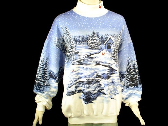 80's vintage oversized SLEIGH RIDE winter woodland novelty sweatshirt XL