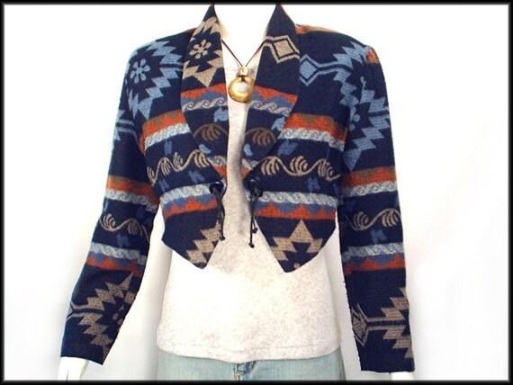80's vintage southwest BOLERO cropped blazer jacket S