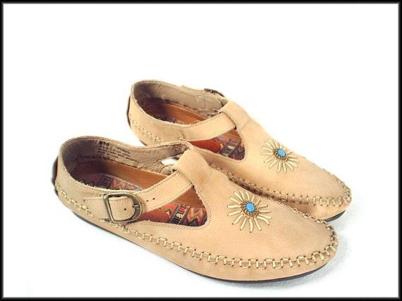 90's vintage SOUTHWEST leather moccasins flat shoes 7.5