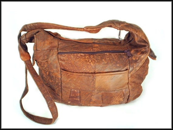 80's vintage distressed leather SLOUCH bag purse