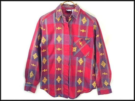 80's vintage SOUTHWEST plaid cotton ethnic shirt S