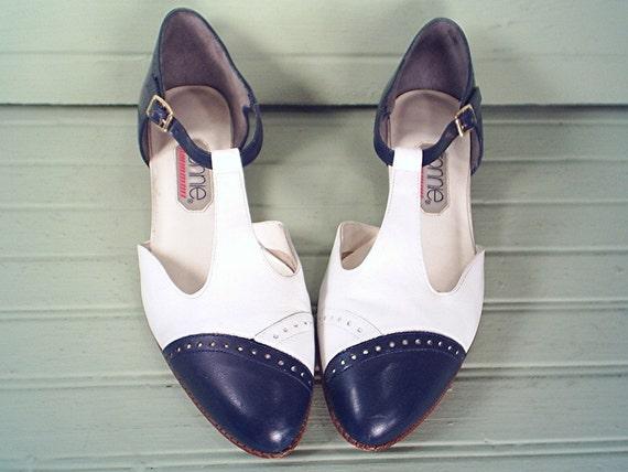 80's vintage TWO TONE spectator wingtip sandals shoes 9 B