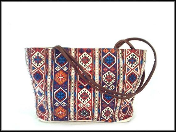 80's vintage SOUTHWEST kilim canvas tote bag purse