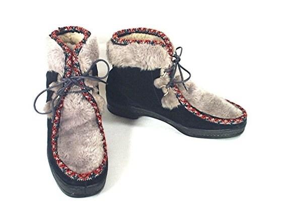 Yodelers Vintage 60 S Apres After Ski Boots Faux Fur