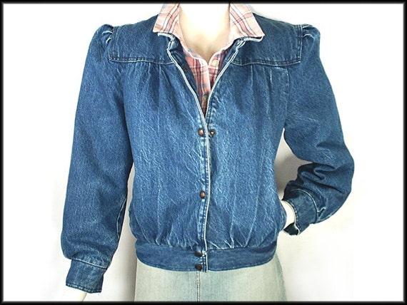 80 S Denim Jacket Vintage Puff Sleeve By Rockymountainretro