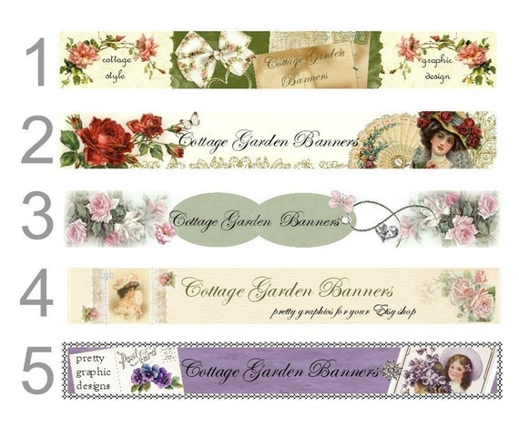 Budget etsy shop banner plus avatar  Victorian cottage roses Vintage designs shabby  and chic Your Choice of ONE