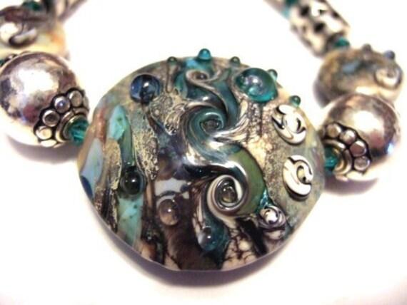 One of a Kind Sterling Silver, Lampwork Glass and Swarovski Crystal Bracelet