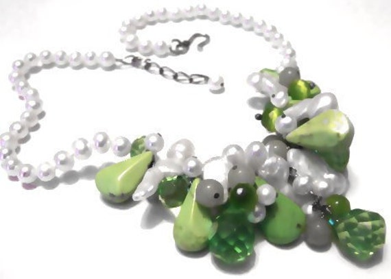 SALE........One of a Kind Cultured Freshwater Pearl, Turquoise, Jade, Cats Eye, Green Quartz and Sterling Silver Necklace