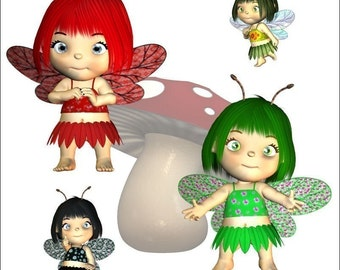 Deluxe Fairy Graphics Clip Art Collection --Royalty Free -- More than 135 poses, backgrounds and scenes