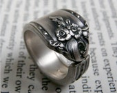 Antique Silver Spoon Ring - Sweet Briar Pattern 1948