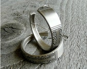 Silver Hoop Earrings - Antique Spoon Design, Arts and Crafts Style