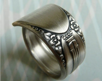Antique Silver Spoon Ring, Symphony Pattern