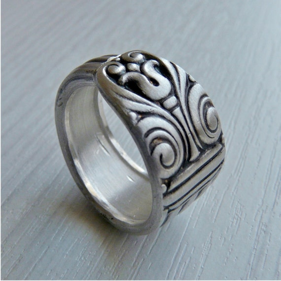 Antique Silver Spoon Ring - Tiki, Last One Left