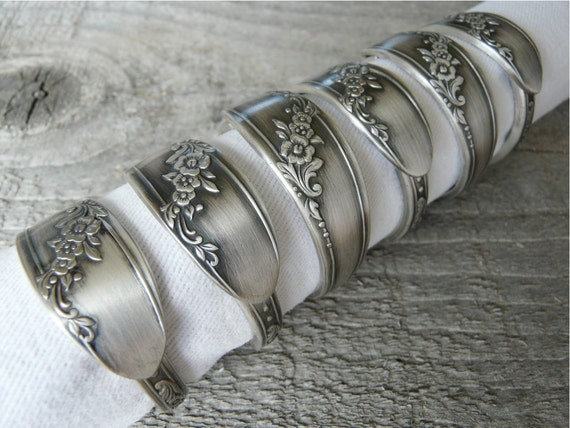 Silver Spoon Napkin Rings, Antique Patterns, Set of 6, Lot 3
