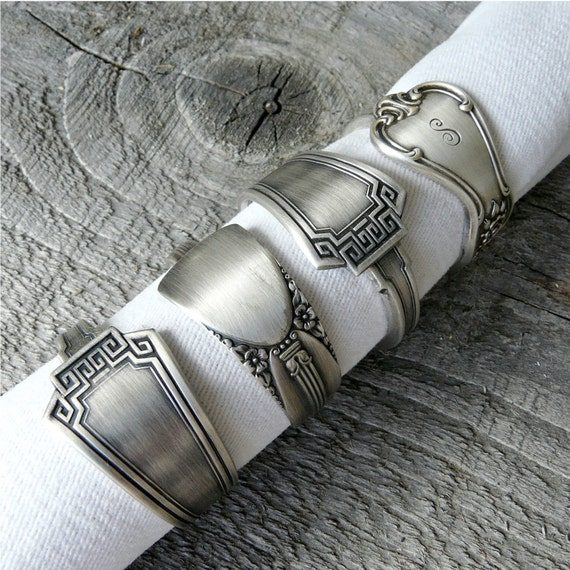 Silver Napkin Rings, Antique Spoon Patterns, Set of 4, Lot 6