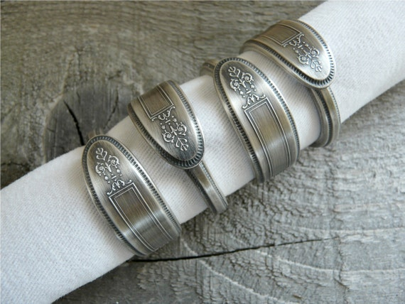 Silver Spoon Napkin Rings, Antique Patterns, Set of 4, Lot 15